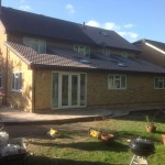 Large rear extension, double storey side extension and new patio using Indian sand stone